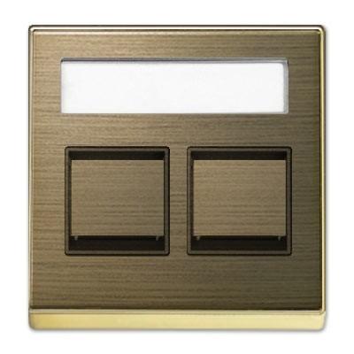 Tapa toma informática 2 ventanas 8518.2 OE Niessen Sky oro envejecido