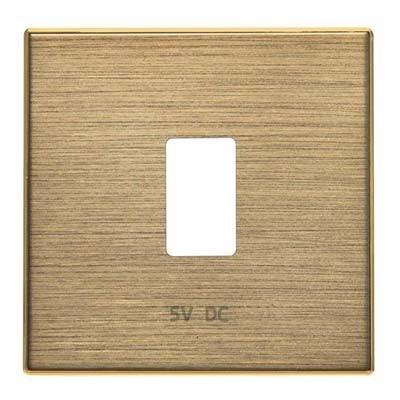 Tapa toma cargador USB simple 8585.2OE Niessen Sky oro envejecido