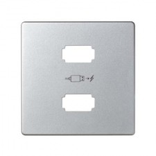 Tapa cargador usb simon 82 8201096-033 aluminio mate