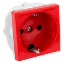 Base enchufe schuko con enclavamiento Efapel 45136 SBR Quadro 45 rojo
