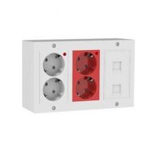 Kit puesto de trabajo eléctrico 2 schukos blancos 2 rojos 2 RJ45 KCA3S4