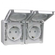 Base enchufe Schuko doble estanco 16A IP65 48865 CCZ EFAPEL