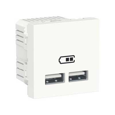 Cargador USB doble New Unica NU341818 Schneider blanco polar