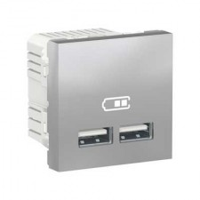 Cargador USB doble NU341830 New Unica Schneider aluminio