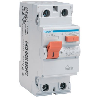 Diferencial Hager CD748V 2 polos 40A 30mA tipo AC