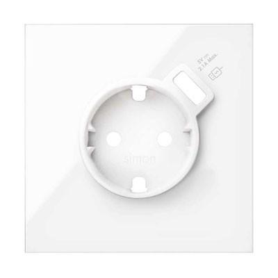 Kit front 1 enchufe + cargador USB 10020109-130 blanco Simon 100