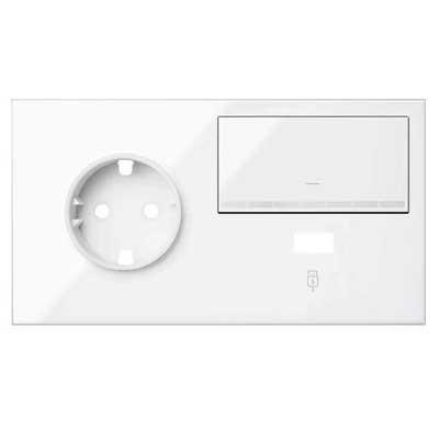 Kit front 1 enchufe + cargador USB + tecla regulable 10021209-130 Simon 100 blanco izquierda