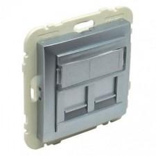 Tapa 2 conectores informática Efapel RJ45 90442 S AL aluminio