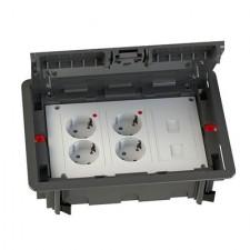 Kit puesto de trabajo eléctrico suelo 4 schukos blancos 2 RJ45 KCF3S3