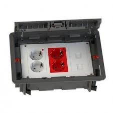 Kit puesto de trabajo eléctrico suelo 2 schukos blancos 2 rojos 2 RJ45 KCF3S4
