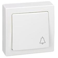 Pulsador símbolo timbre monobloc Simon 73150-50 de superficie Blanco