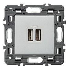 Cargador USB doble Legrand 741331 Valena Next aluminio 2400mA