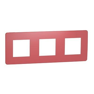Marco de 3 elementos Schneider NU280613 rojo New Unica Studio Color