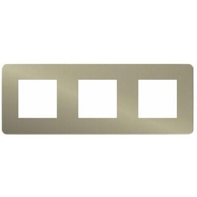 Marco de 3 elementos bronce Schneider NU280650 New Unica Studio Metal