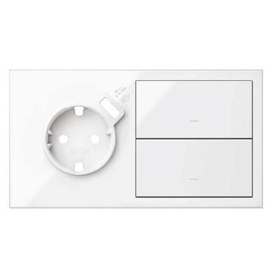 Kit front 2 elementos 1 enchufes + USB 2 teclas 10020212-130 blanco Simon 100
