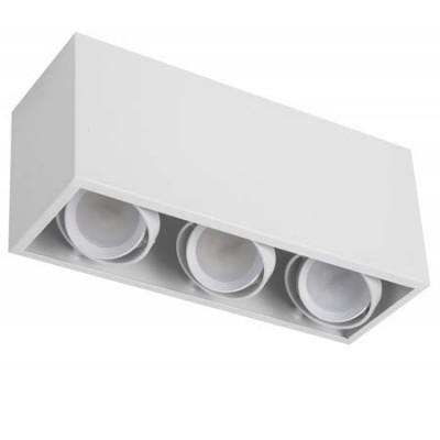 Foco de superficie 3 luces aros basculantes GU10 blanco serie Kardan Augusto