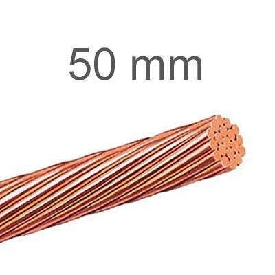 Cable de cobre desnudo 50 mm para líneas toma tierra