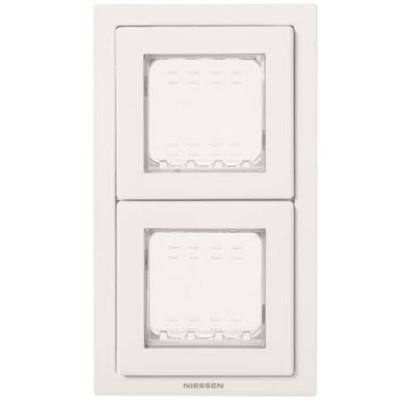 Marco estanco Zenit N3272BL 2 ventanas IP55 blanco Niessen