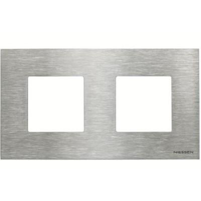 Marco Niessen n2272 ox 2 ventanas 2 modulos acero inoxidable zenit