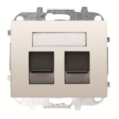 Tapa Niessen  8418.2 bl 2 conectores tel informatica blanco jazmín