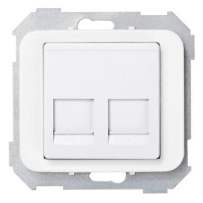Tapa adaptador 2 conectores rj amp blanco 75589-60 simon 75