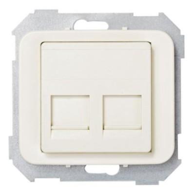Tapa adaptador 2 conectores rj amp marfil 75589-61 serie 75 simo
