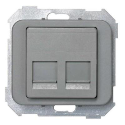 Tapa adaptador 2 conectores rj amp gris 75589-65 serie 75 simon