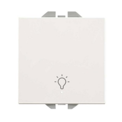 Pulsador ancho blanco símbolo luz piloto Simon 20000161-090