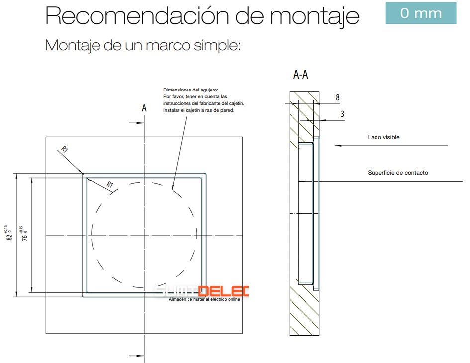 Montaje de un marco de 1 elemento a ras de la pared